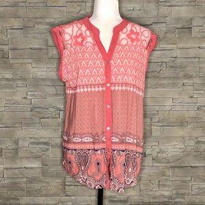 Point Zero coral sleeveless blouse